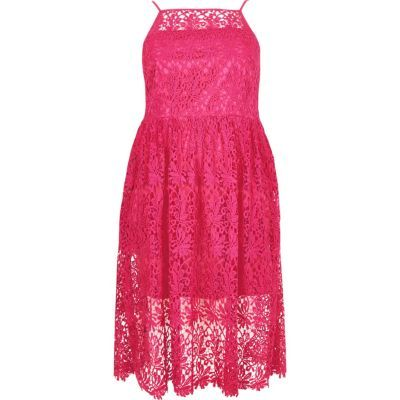 Womens Ri Plus Pink Lace Midi Dress - neckline: high square neck; sleeve style: spaghetti straps; style: prom dress; waist detail: fitted waist; predominant colour: hot pink; occasions: evening, occasion; length: on the knee; fit: fitted at waist & bust; fibres: polyester/polyamide - 100%; hip detail: adds bulk at the hips; sleeve length: sleeveless; texture group: lace; pattern type: fabric; pattern: patterned/print; season: s/s 2016; wardrobe: event