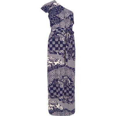 Womens Navy Print One Shoulder Maxi Dress - style: maxi dress; sleeve style: asymmetric sleeve; length: ankle length; neckline: asymmetric; waist detail: belted waist/tie at waist/drawstring; secondary colour: white; predominant colour: navy; fit: body skimming; fibres: polyester/polyamide - 100%; sleeve length: sleeveless; occasions: holiday; pattern type: fabric; pattern size: standard; pattern: patterned/print; texture group: woven light midweight; season: s/s 2016; wardrobe: holiday