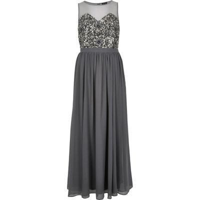 Womens Grey Embellished Maxi Dress - sleeve style: sleeveless; style: maxi dress; length: ankle length; predominant colour: charcoal; fit: fitted at waist & bust; fibres: polyester/polyamide - 100%; occasions: occasion; neckline: crew; sleeve length: sleeveless; texture group: sheer fabrics/chiffon/organza etc.; pattern type: fabric; pattern size: standard; pattern: patterned/print; embellishment: beading; season: s/s 2016; wardrobe: event