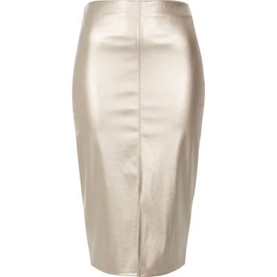 Womens Silver Metallic Pencil Skirt - pattern: plain; style: pencil; fit: tailored/fitted; waist: high rise; hip detail: draws attention to hips; predominant colour: silver; occasions: evening; length: on the knee; fibres: polyester/polyamide - 100%; texture group: leather; pattern type: fabric; season: s/s 2016; wardrobe: event