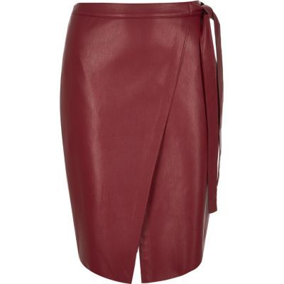 Womens Red Leather Look Wrap Midi Skirt - pattern: plain; style: wrap/faux wrap; fit: tailored/fitted; waist: high rise; waist detail: belted waist/tie at waist/drawstring; predominant colour: burgundy; occasions: evening, creative work; length: on the knee; fibres: polyester/polyamide - 100%; hip detail: slits at hip; texture group: leather; pattern type: fabric; season: s/s 2016; wardrobe: highlight