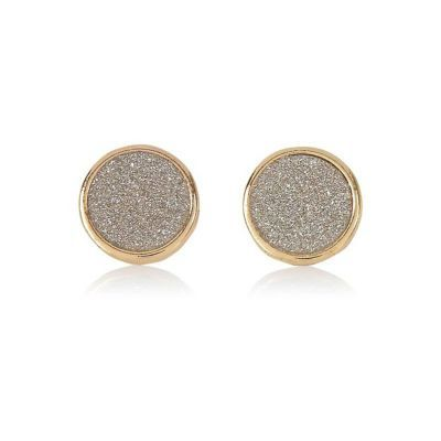 Womens Gold Tone Glitter Stud Earrings - secondary colour: silver; predominant colour: gold; occasions: evening; style: stud; length: short; size: standard; material: chain/metal; fastening: pierced; finish: metallic; embellishment: crystals/glass; season: s/s 2016; wardrobe: event