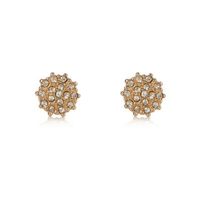 Womens Gold Tone Sparkling Stud Earrings - predominant colour: gold; occasions: evening, occasion; style: stud; length: short; size: standard; material: chain/metal; fastening: pierced; finish: metallic; embellishment: crystals/glass; season: s/s 2016