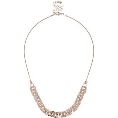 Womens Rose Gold Tone Interlinking Necklace - predominant colour: gold; occasions: evening; length: short; size: standard; material: chain/metal; finish: metallic; embellishment: chain/metal; season: s/s 2016; style: chain (no pendant)