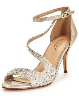 Keo Low Heel Swirl Sandal - predominant colour: gold; occasions: evening; material: leather; heel height: high; embellishment: crystals/glass; ankle detail: ankle strap; heel: stiletto; toe: open toe/peeptoe; style: standard; finish: metallic; pattern: plain; season: s/s 2016; wardrobe: event; trends: metallics