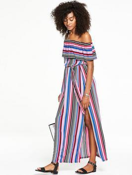 Frill Bardot Maxi Dress - neckline: off the shoulder; fit: fitted at waist; style: maxi dress; pattern: striped; length: ankle length; waist detail: belted waist/tie at waist/drawstring; predominant colour: burgundy; secondary colour: diva blue; occasions: casual; fibres: viscose/rayon - 100%; sleeve length: short sleeve; sleeve style: standard; pattern type: fabric; pattern size: standard; texture group: other - light to midweight; multicoloured: multicoloured; season: s/s 2016; wardrobe: highlight