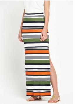 Maxi Skirt - length: ankle length; fit: body skimming; waist detail: elasticated waist; waist: high rise; predominant colour: emerald green; secondary colour: bright orange; occasions: casual; style: maxi skirt; fibres: viscose/rayon - stretch; pattern type: fabric; texture group: jersey - stretchy/drapey; pattern size: standard (bottom); pattern: horizontal stripes (bottom); season: s/s 2016; wardrobe: highlight