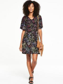 Floral Tea Dress - style: tea dress; length: mid thigh; neckline: v-neck; secondary colour: yellow; predominant colour: black; occasions: casual; fit: body skimming; fibres: viscose/rayon - 100%; sleeve length: half sleeve; sleeve style: standard; pattern type: fabric; pattern size: standard; pattern: florals; texture group: other - light to midweight; multicoloured: multicoloured; season: s/s 2016; wardrobe: highlight