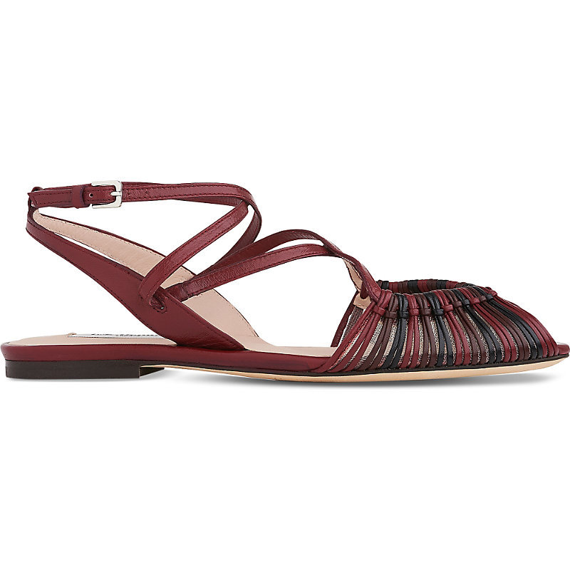 Sara Strappy Leather Sandals, Women's, Eur 37 / 4 Uk Women, Red Merlot - predominant colour: true red; secondary colour: black; occasions: casual, holiday; material: leather; heel height: flat; ankle detail: ankle strap; heel: standard; toe: open toe/peeptoe; style: gladiators; finish: plain; pattern: colourblock; season: s/s 2016