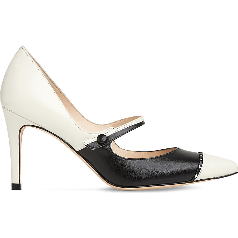 Laylah Leather Mary Jane Pumps, Women's, Eur 40 / 7 Uk Women, Mul Ivory/Black - predominant colour: ivory/cream; occasions: evening, creative work; material: leather; heel height: high; heel: stiletto; toe: pointed toe; style: mary janes; finish: plain; pattern: colourblock; season: s/s 2016