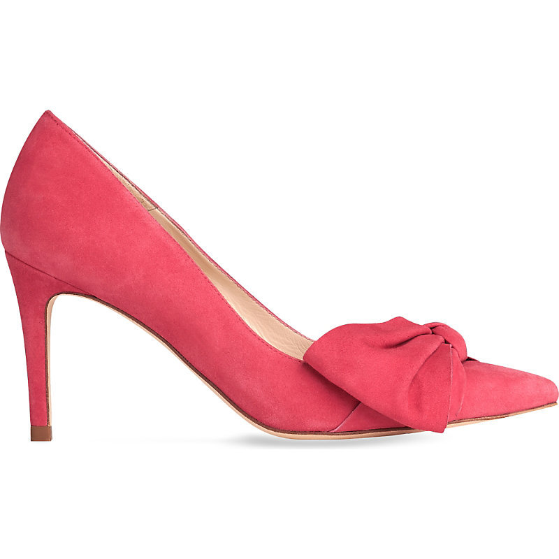 Caitlyn Bow Detail Suede Courts, Women's, Eur 35.5 / 2.5 Uk Women, Red Cherry - predominant colour: true red; occasions: evening, occasion; material: suede; heel: stiletto; toe: pointed toe; style: courts; finish: plain; pattern: plain; embellishment: bow; heel height: very high; season: s/s 2016; wardrobe: event