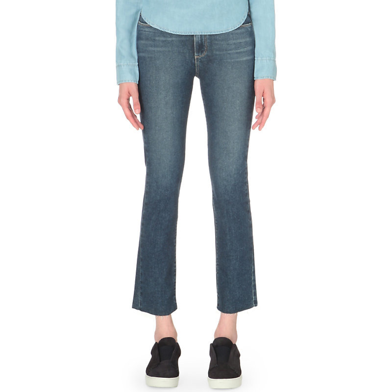 Jacqueline Flared High Rise Jeans, Women's, Axel - style: flares; pattern: plain; pocket detail: traditional 5 pocket; waist: mid/regular rise; predominant colour: denim; occasions: casual; length: ankle length; fibres: cotton - stretch; jeans detail: whiskering; texture group: denim; pattern type: fabric; season: s/s 2016; wardrobe: basic