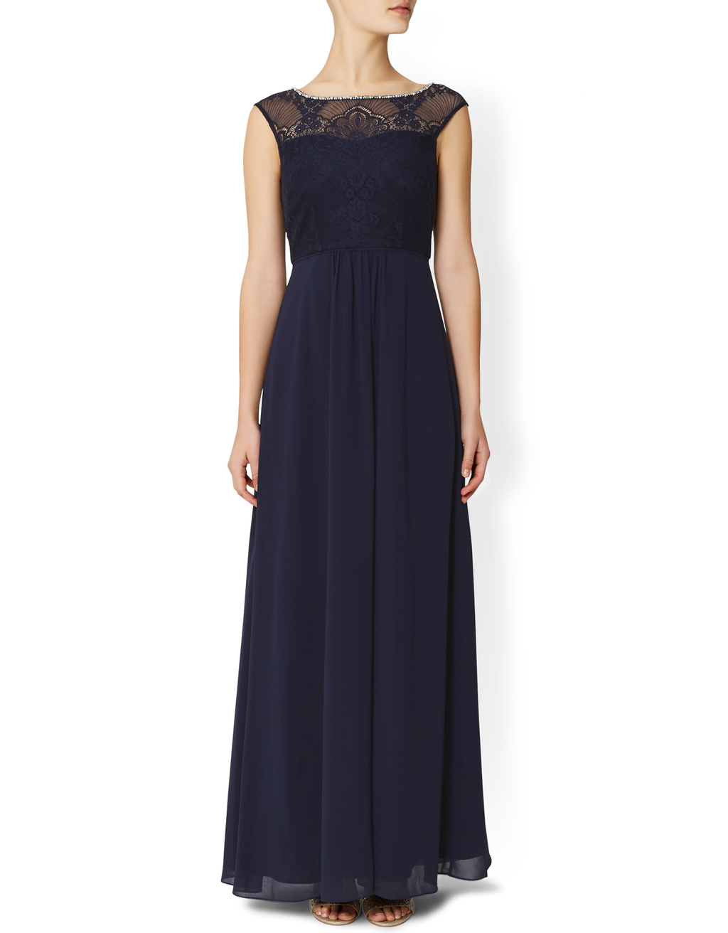 Harmony Dress - neckline: slash/boat neckline; sleeve style: capped; pattern: plain; style: maxi dress; shoulder detail: contrast pattern/fabric at shoulder; predominant colour: navy; length: floor length; fit: soft a-line; fibres: polyester/polyamide - 100%; occasions: occasion; back detail: keyhole/peephole detail at back; sleeve length: short sleeve; texture group: sheer fabrics/chiffon/organza etc.; pattern type: fabric; pattern size: standard; embellishment: lace; season: s/s 2016