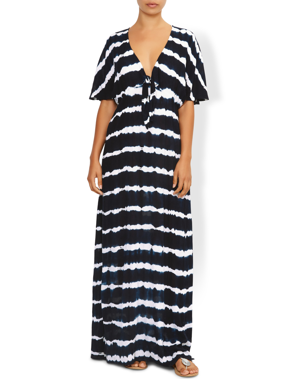 Lana Tie Dye Maxi Dress - neckline: low v-neck; fit: loose; pattern: horizontal stripes; style: maxi dress; secondary colour: white; predominant colour: black; occasions: casual; length: floor length; fibres: cotton - 100%; sleeve length: half sleeve; sleeve style: standard; texture group: cotton feel fabrics; pattern type: fabric; multicoloured: multicoloured; season: s/s 2016