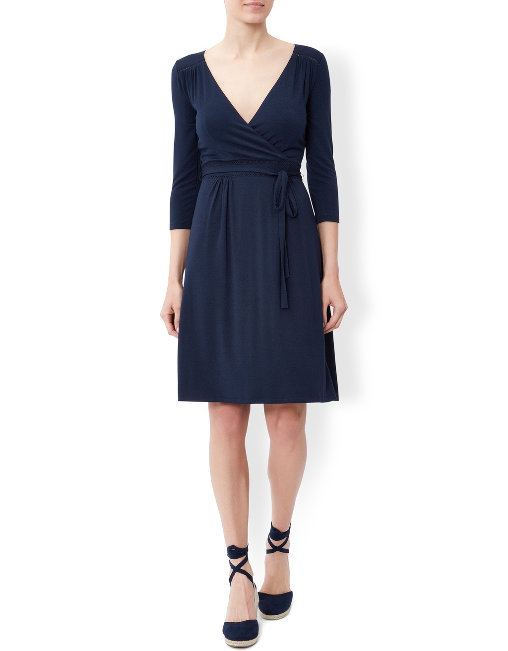 Victoria Plain Dress - style: faux wrap/wrap; neckline: low v-neck; pattern: plain; waist detail: belted waist/tie at waist/drawstring; predominant colour: navy; occasions: evening; length: on the knee; fit: soft a-line; fibres: viscose/rayon - 100%; sleeve length: 3/4 length; sleeve style: standard; pattern type: fabric; pattern size: standard; texture group: jersey - stretchy/drapey; season: s/s 2016; wardrobe: event