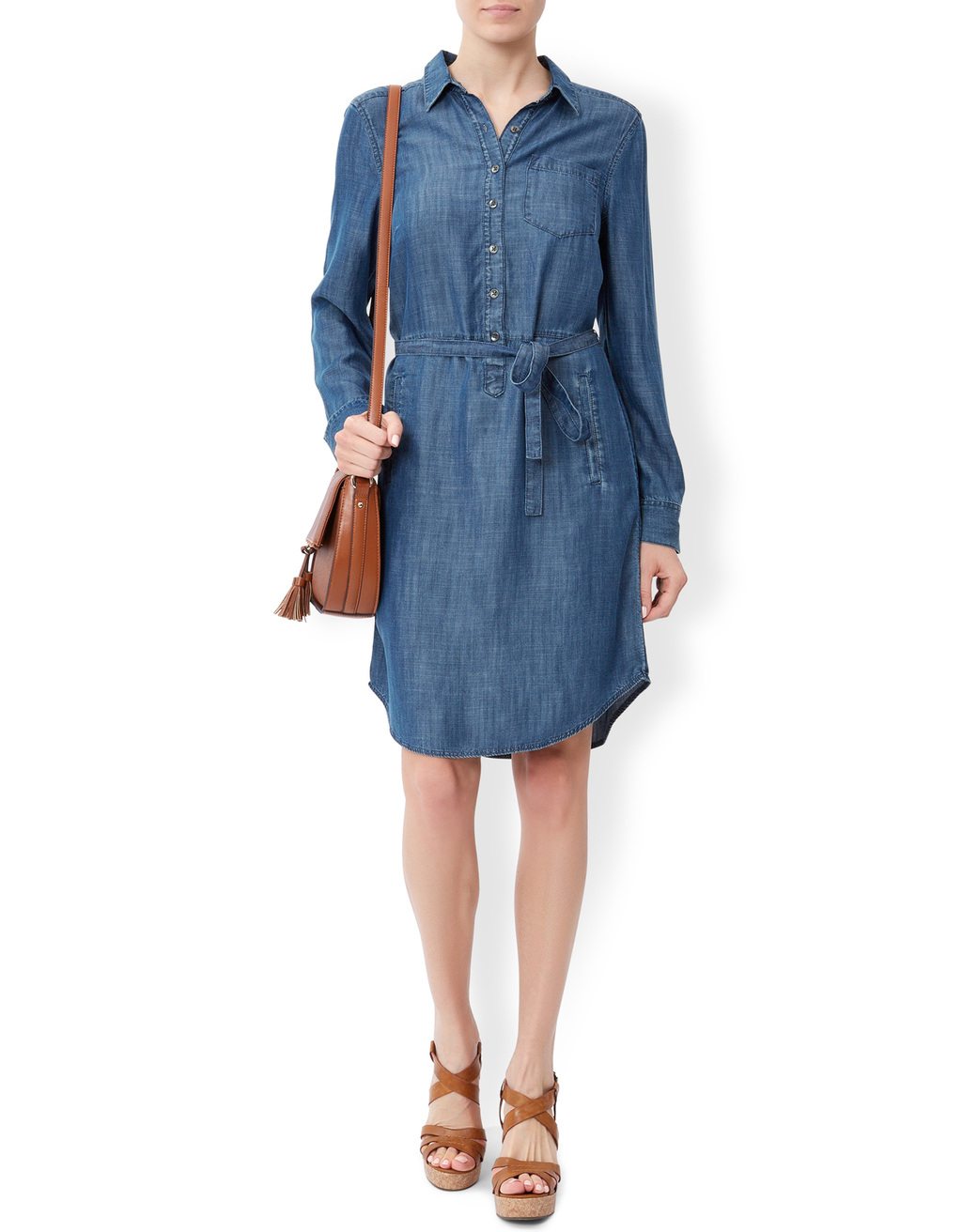 Tatiana Tencel Shirt Dress - style: shirt; neckline: shirt collar/peter pan/zip with opening; pattern: plain; waist detail: belted waist/tie at waist/drawstring; predominant colour: denim; occasions: casual; length: on the knee; fit: body skimming; fibres: viscose/rayon - 100%; sleeve length: long sleeve; sleeve style: standard; texture group: denim; pattern type: fabric; season: s/s 2016; wardrobe: basic