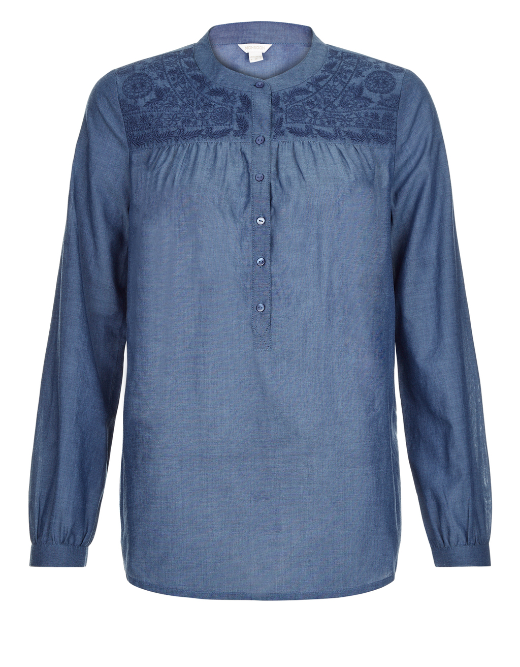 Emma Chambray Shirt - pattern: plain; style: shirt; predominant colour: denim; occasions: casual; length: standard; neckline: collarstand; fibres: cotton - mix; fit: body skimming; sleeve length: long sleeve; sleeve style: standard; texture group: denim; pattern type: fabric; season: s/s 2016; wardrobe: basic