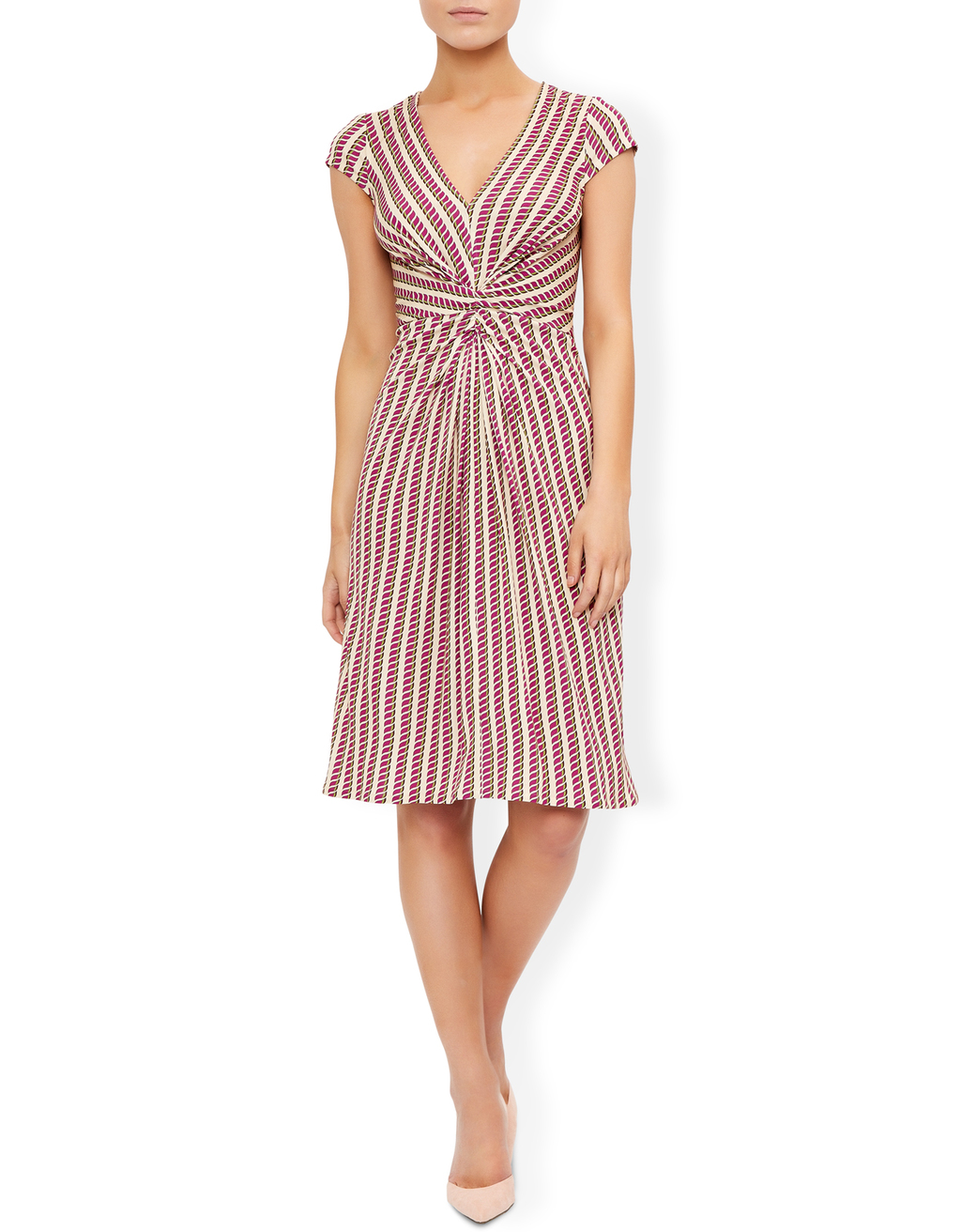 Gabriella Dress - style: shift; neckline: v-neck; sleeve style: capped; pattern: striped; secondary colour: white; predominant colour: pink; occasions: evening; length: on the knee; fit: body skimming; fibres: viscose/rayon - 100%; sleeve length: short sleeve; pattern type: fabric; texture group: jersey - stretchy/drapey; multicoloured: multicoloured; season: s/s 2016; wardrobe: event