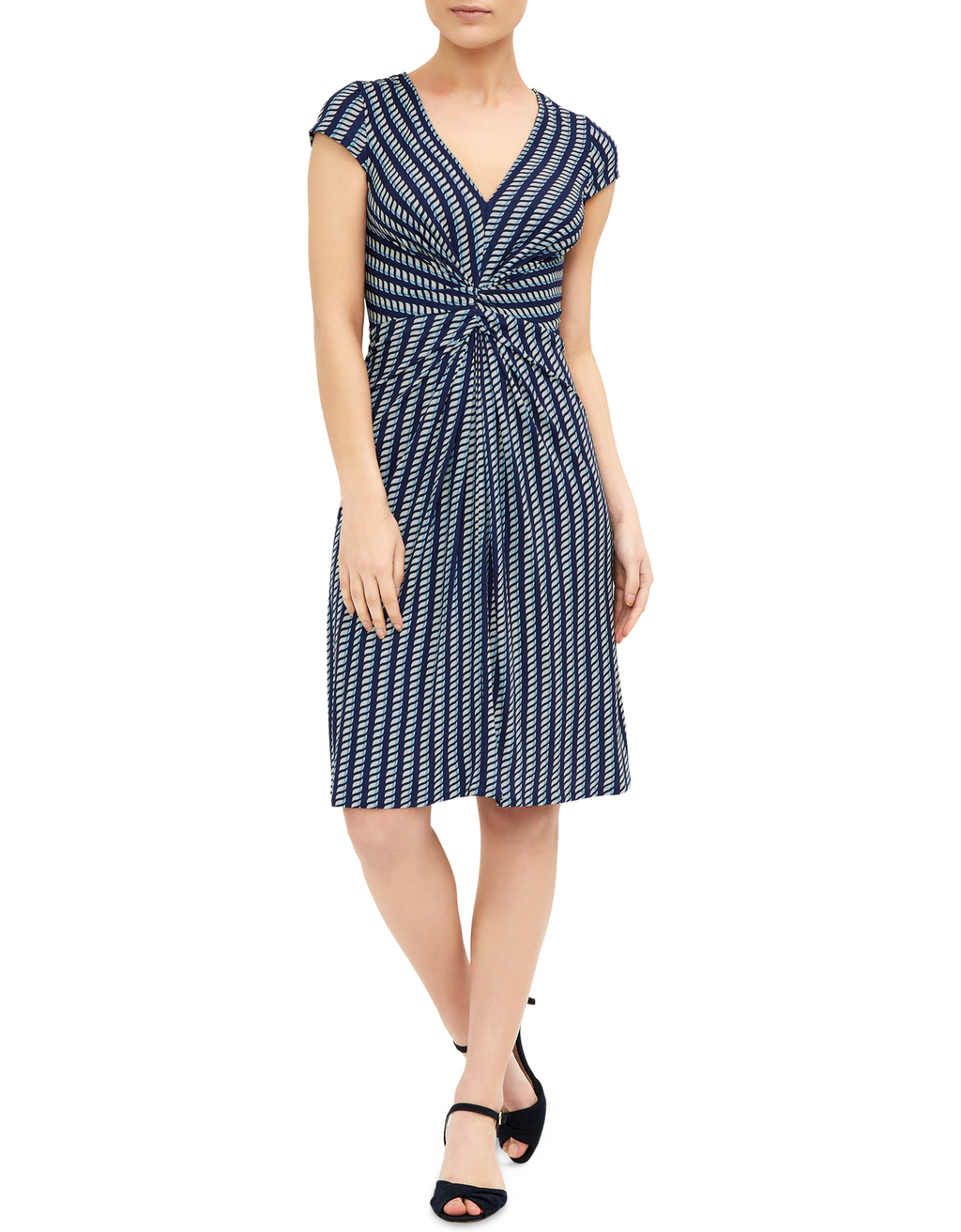 Gabriella Dress - style: shift; neckline: v-neck; sleeve style: capped; pattern: striped; predominant colour: pale blue; secondary colour: navy; occasions: evening; length: on the knee; fit: body skimming; fibres: viscose/rayon - 100%; sleeve length: short sleeve; pattern type: fabric; texture group: jersey - stretchy/drapey; multicoloured: multicoloured; season: s/s 2016; wardrobe: event