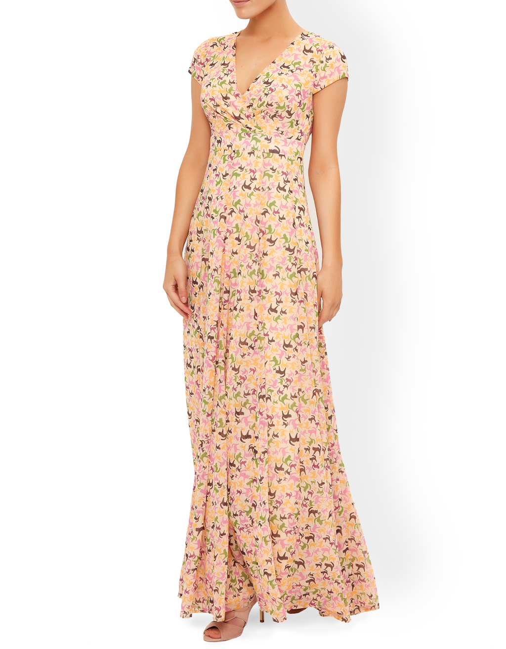 Anna Beatriz Maxi Dress - neckline: v-neck; sleeve style: capped; style: maxi dress; secondary colour: pink; predominant colour: nude; length: floor length; fit: body skimming; fibres: polyester/polyamide - 100%; occasions: occasion; sleeve length: short sleeve; pattern type: fabric; pattern size: standard; pattern: patterned/print; texture group: other - light to midweight; multicoloured: multicoloured; season: s/s 2016; wardrobe: event