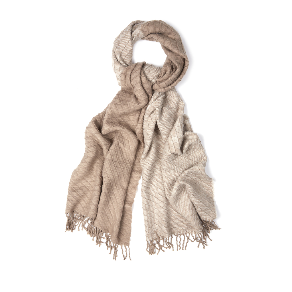 Textured Ombre Scarf - predominant colour: stone; occasions: casual, creative work; type of pattern: standard; style: regular; size: standard; material: fabric; pattern: plain; season: s/s 2016; wardrobe: basic