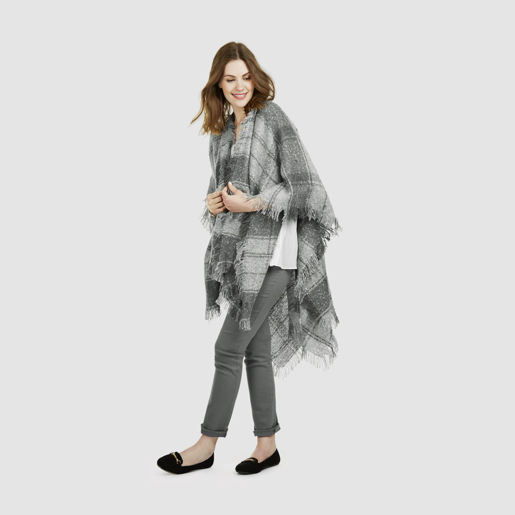 Grey Check Boucle Wrap Scarf - predominant colour: light grey; occasions: casual, creative work; type of pattern: light; style: wrap; size: large; material: fabric; pattern: checked/gingham; season: s/s 2016; wardrobe: highlight
