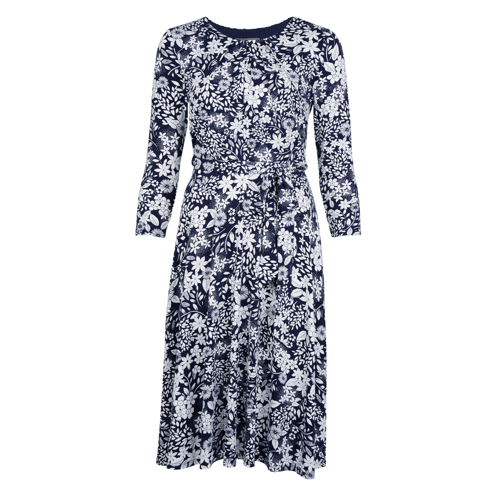 Pleated Neck Fit And Flare Floral Dress - style: shift; neckline: round neck; secondary colour: white; predominant colour: navy; occasions: casual; length: on the knee; fit: soft a-line; fibres: polyester/polyamide - 100%; sleeve length: 3/4 length; sleeve style: standard; pattern type: fabric; pattern size: standard; pattern: patterned/print; texture group: jersey - stretchy/drapey; season: s/s 2016