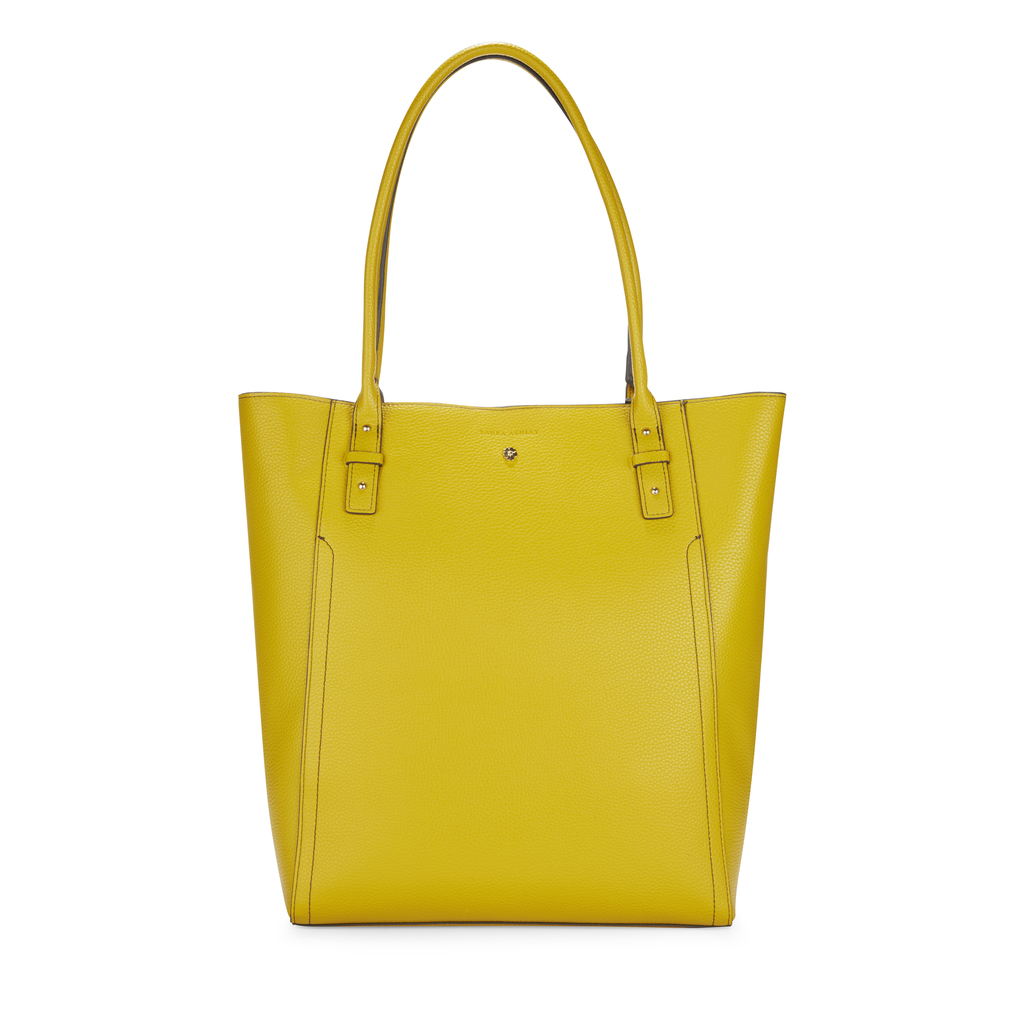 Bamboo Yellow Shopper Bag - predominant colour: yellow; occasions: casual; type of pattern: standard; style: tote; length: shoulder (tucks under arm); size: oversized; material: faux leather; pattern: plain; finish: plain; season: s/s 2016; wardrobe: highlight
