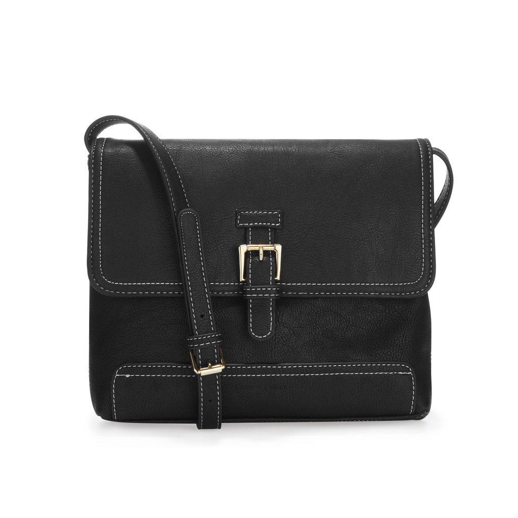 Buckle Detail Black Cross Body Bag - predominant colour: black; occasions: casual, work, creative work; type of pattern: standard; style: messenger; length: across body/long; size: standard; material: faux leather; pattern: plain; finish: plain; season: s/s 2016; wardrobe: basic