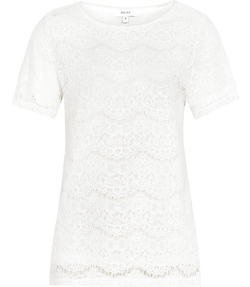 Rayee Lace T Shirt - style: t-shirt; predominant colour: white; occasions: evening; length: standard; fibres: viscose/rayon - 100%; fit: body skimming; neckline: crew; sleeve length: short sleeve; sleeve style: standard; texture group: lace; pattern type: fabric; pattern: patterned/print; season: s/s 2016; wardrobe: event