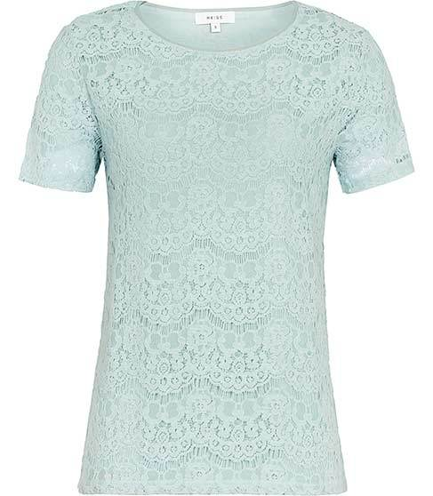 Rayee Lace T Shirt - style: t-shirt; predominant colour: pistachio; occasions: casual; length: standard; fibres: viscose/rayon - 100%; fit: body skimming; neckline: crew; sleeve length: short sleeve; sleeve style: standard; texture group: lace; pattern type: fabric; pattern: patterned/print; season: s/s 2016; wardrobe: highlight