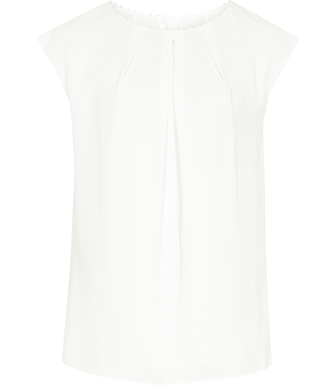 Livia Button Back Top - sleeve style: capped; pattern: plain; predominant colour: white; occasions: casual; length: standard; style: top; fibres: polyester/polyamide - 100%; fit: body skimming; neckline: crew; sleeve length: short sleeve; texture group: crepes; pattern type: fabric; season: s/s 2016; wardrobe: basic