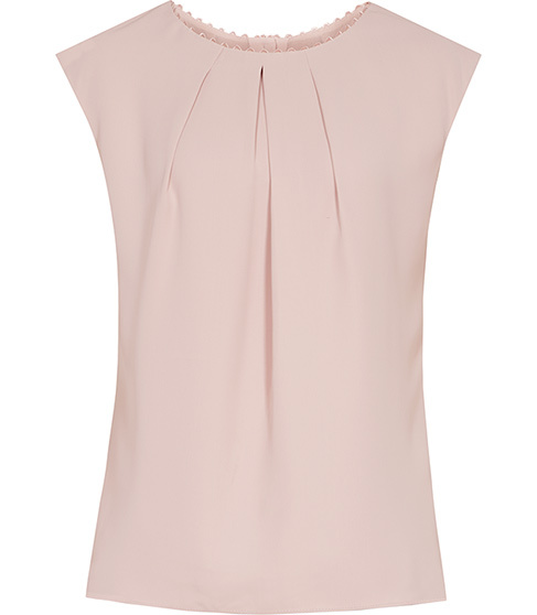 Livia Button Back Top - neckline: round neck; sleeve style: capped; pattern: plain; bust detail: subtle bust detail; predominant colour: blush; occasions: work; length: standard; style: top; fibres: polyester/polyamide - 100%; fit: body skimming; sleeve length: short sleeve; pattern type: fabric; texture group: other - light to midweight; season: s/s 2016; wardrobe: basic