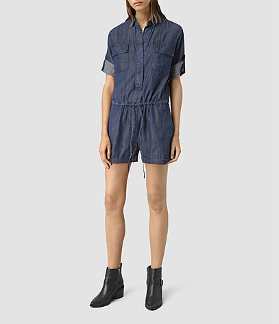 Jura Playsuit - neckline: shirt collar/peter pan/zip with opening; pattern: plain; waist detail: belted waist/tie at waist/drawstring; length: short shorts; predominant colour: navy; occasions: casual; fit: body skimming; sleeve length: short sleeve; sleeve style: standard; texture group: denim; style: playsuit; pattern type: fabric; fibres: viscose/rayon - mix; season: s/s 2016; wardrobe: highlight