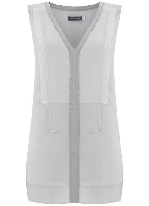 Dove & Ivory Layer Bib Tunic - neckline: v-neck; pattern: plain; sleeve style: sleeveless; length: below the bottom; style: tunic; predominant colour: light grey; occasions: evening; fibres: silk - 100%; fit: body skimming; sleeve length: sleeveless; pattern type: fabric; texture group: other - light to midweight; season: s/s 2016; wardrobe: event