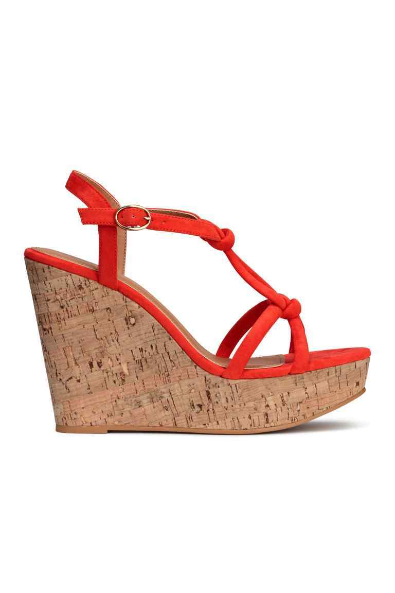 Wedge Heel Sandals - predominant colour: true red; occasions: casual, holiday; material: faux leather; heel height: high; heel: wedge; toe: open toe/peeptoe; style: standard; finish: plain; pattern: plain; shoe detail: platform; season: s/s 2016; wardrobe: highlight