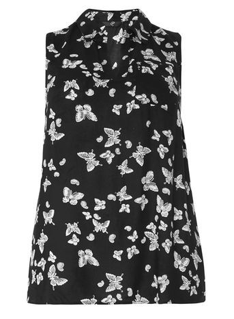 Black Sleeveless Butterfly Print Top - neckline: shirt collar/peter pan/zip with opening; sleeve style: sleeveless; secondary colour: white; predominant colour: black; occasions: casual; length: standard; style: top; fibres: viscose/rayon - 100%; fit: body skimming; sleeve length: sleeveless; pattern type: fabric; pattern: patterned/print; texture group: other - light to midweight; multicoloured: multicoloured; season: s/s 2016; wardrobe: highlight