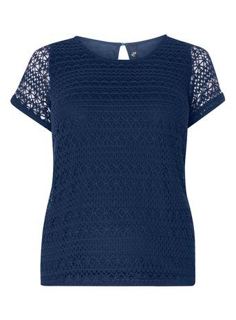 Navy Blue Crochet Top - pattern: plain; predominant colour: navy; occasions: casual; length: standard; style: top; fibres: polyester/polyamide - 100%; fit: body skimming; neckline: crew; sleeve length: short sleeve; sleeve style: standard; texture group: knits/crochet; pattern type: knitted - fine stitch; shoulder detail: sheer at shoulder; season: s/s 2016