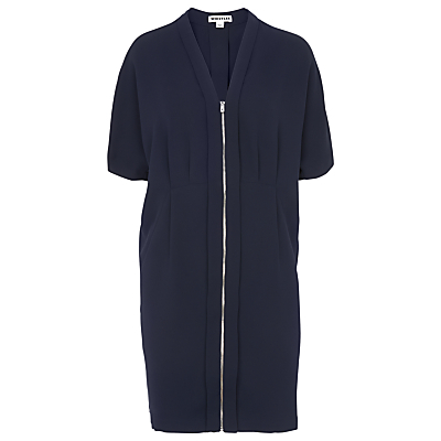 Percy Zip Front Dress, Navy - style: shift; neckline: v-neck; pattern: plain; predominant colour: navy; length: just above the knee; fit: body skimming; fibres: polyester/polyamide - 100%; sleeve length: short sleeve; sleeve style: standard; pattern type: fabric; texture group: other - light to midweight; occasions: creative work; season: s/s 2016; wardrobe: investment