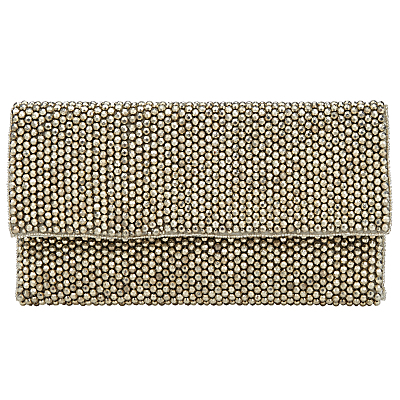 Taylor Bead Flat Clutch - predominant colour: silver; occasions: evening, occasion; type of pattern: standard; style: clutch; length: hand carry; size: small; material: fabric; pattern: plain; finish: metallic; season: s/s 2016; wardrobe: event