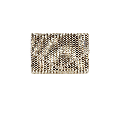 Lia Barrel Clutch Bag, Silver - predominant colour: silver; occasions: evening, occasion; type of pattern: light; style: clutch; length: hand carry; size: small; material: fabric; pattern: plain; finish: metallic; season: s/s 2016; wardrobe: event
