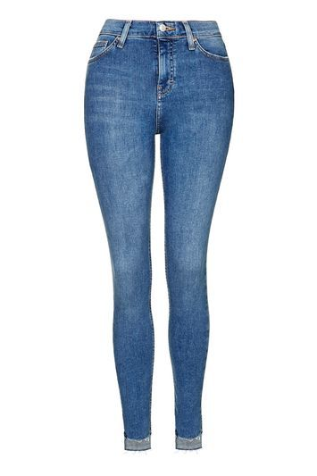 Moto Stepped Hem Jamie Jeans - style: skinny leg; length: standard; pattern: plain; waist: high rise; pocket detail: traditional 5 pocket; predominant colour: navy; occasions: casual; fibres: cotton - stretch; texture group: denim; pattern type: fabric; season: s/s 2016
