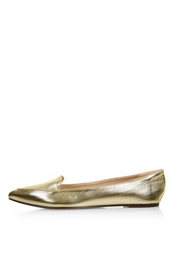 Vain Stitch Point Shoe - predominant colour: gold; occasions: casual, creative work; material: faux leather; heel height: flat; toe: pointed toe; style: ballerinas / pumps; finish: plain; pattern: plain; season: s/s 2016; wardrobe: basic; trends: metallics