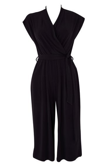 Petite Black Culotte Jumpsuit - neckline: v-neck; sleeve style: capped; pattern: plain; waist detail: belted waist/tie at waist/drawstring; predominant colour: black; occasions: evening; length: calf length; fit: body skimming; fibres: polyester/polyamide - stretch; sleeve length: sleeveless; style: jumpsuit; pattern type: fabric; texture group: jersey - stretchy/drapey; season: s/s 2016