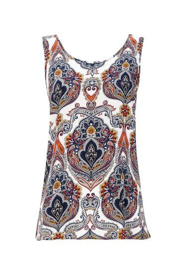 Petite Paisley Printed Vest Top - neckline: round neck; sleeve style: sleeveless; style: vest top; pattern: paisley; predominant colour: white; secondary colour: navy; occasions: casual; length: standard; fibres: viscose/rayon - 100%; fit: body skimming; sleeve length: sleeveless; pattern type: fabric; texture group: jersey - stretchy/drapey; pattern size: big & busy (top); multicoloured: multicoloured; season: s/s 2016
