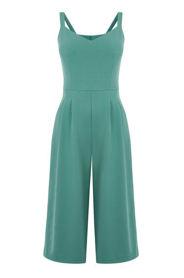 Culotte Jumpsuit - neckline: v-neck; pattern: plain; sleeve style: sleeveless; predominant colour: mint green; occasions: evening; length: calf length; fit: body skimming; fibres: polyester/polyamide - stretch; sleeve length: sleeveless; style: jumpsuit; pattern type: fabric; texture group: jersey - stretchy/drapey; season: s/s 2016; wardrobe: event