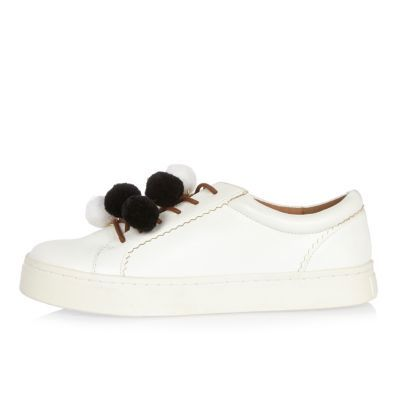 Womens White Pom Pom Trainers - predominant colour: white; secondary colour: black; occasions: casual; material: fabric; heel height: flat; toe: round toe; style: trainers; finish: plain; pattern: plain; embellishment: pompom; shoe detail: moulded soul; season: s/s 2016; wardrobe: highlight