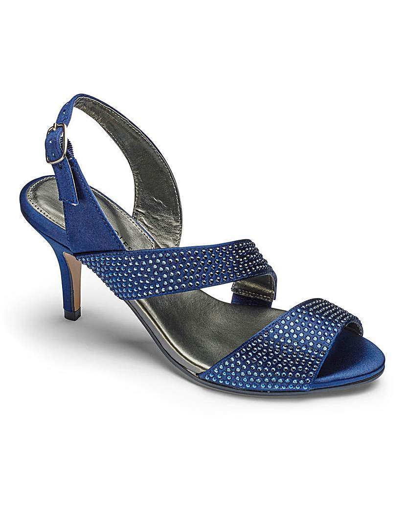 Heavenly Soles Evening Shoes E Fit - predominant colour: royal blue; occasions: evening, occasion; material: faux leather; heel height: high; embellishment: crystals/glass; heel: stiletto; toe: open toe/peeptoe; style: slingbacks; finish: plain; pattern: plain; season: s/s 2016