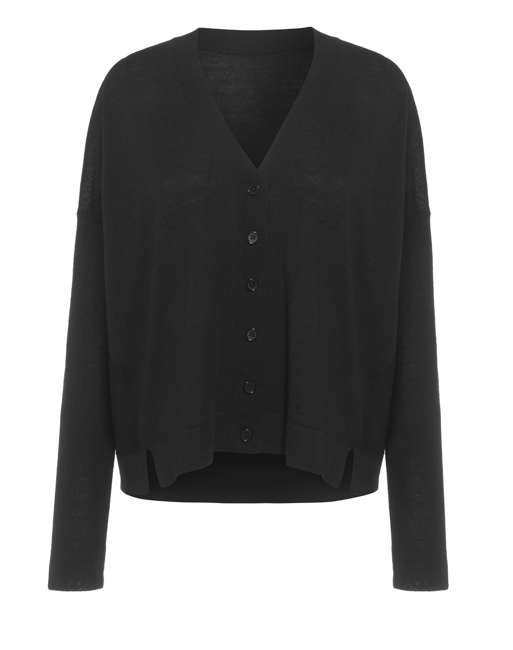 Fine Knit Cardigan Black - neckline: v-neck; pattern: plain; predominant colour: black; occasions: casual; length: standard; style: standard; fibres: wool - 100%; fit: slim fit; sleeve length: long sleeve; sleeve style: standard; texture group: knits/crochet; pattern type: knitted - fine stitch; season: s/s 2016; wardrobe: basic