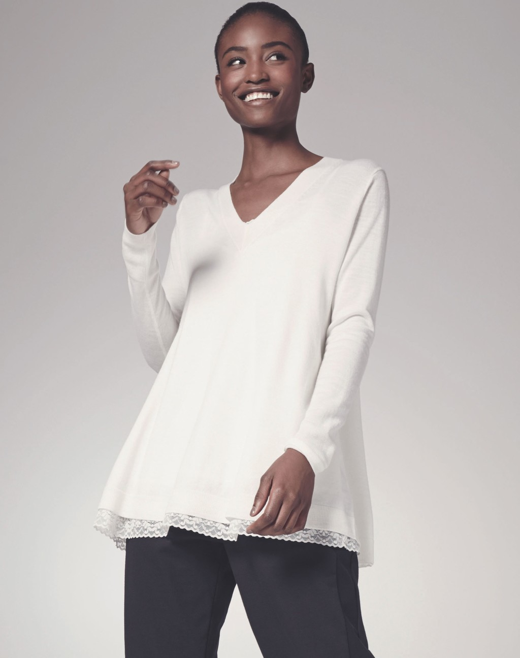 Panel Detail Swing Jumper - neckline: v-neck; pattern: plain; style: standard; predominant colour: white; occasions: casual; length: standard; fibres: wool - 100%; fit: loose; sleeve length: long sleeve; sleeve style: standard; texture group: knits/crochet; pattern type: knitted - fine stitch; season: s/s 2016; wardrobe: basic
